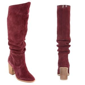 NineWest Suede Wine High Shaft Slouch Heeled Boots
